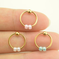 cartilage earring,tragus earrings,beaded cartilage hoop tragus helix earring,14k gold earring