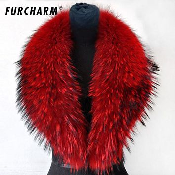 80/90/100cm 2017 Winter 100% Real Natural Raccoon Fur Collar & Womens Scarfs Fashion Coat Sweater Scarves Thick Long Neck Cap
