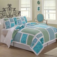 NAUTICAL BEACH COTTAGE BLUE GREEN FLORAL TWIN FULL QUEEN KING QUILT BEDDING SET