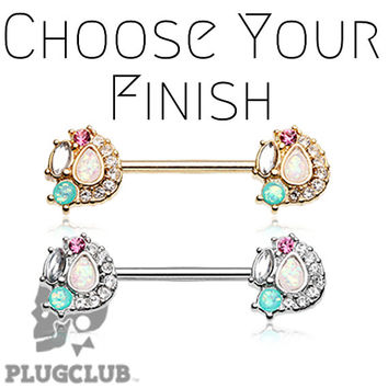 """Sparkle Opal Medley Nipple Barbell Ring 5/16"""" 3/8"""" 1/2"""" 5/8"""" NOW AVAILABLE LENGTHS"""