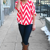 Caught Red Handed Chevron Blouse