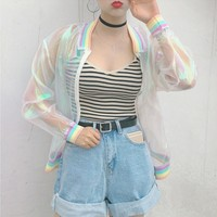 Clear Iridescent Mesh Bomber