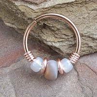 Grey and White 16g 18g or 20 Gauge Rose Gold Nose Hoop Ring or Helix Tragus Cartilage Hoop Earring