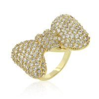Bow Tie Cubic Zirconia Ring, size : 06