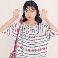 Loose Bird's Eye Print Blouse by Hotping