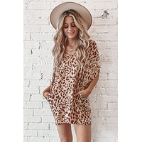 Mama Said Leopard Satin Tunic Dress