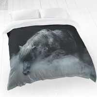 Duvet Cover With Emotional Horse Photography Print, Bed Linens, Home Decor, Bedroom Decor, Original Photo, Twin and Queen Size, Gift For Her