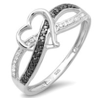 0.20 Carat (ctw) Sterling Silver Round Black & White Diamond Ladies Promise Heart Love Criss Cross Overlap Engagement Ring 1/5 CT (Size 7)
