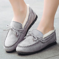 Warm thickening doug shoes with velvet flats lazy loafers Grey