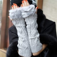 Gray Faux Fur Extra-Long Wrist Warmers = 1932001412