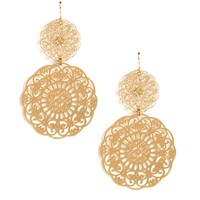 Gold Doily Dangling Earrings
