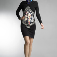 Historic New York Black Floral Art Gallery In Cabochon Dress