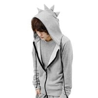 Mens Full Zipper Dinosaur Designed Drawstring Hoody Coat