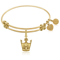 Expandable Bangle in Yellow Tone Brass with Glinda Crown Symbol