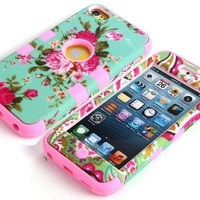 Candywe 3in1 Hybrid High Impact Hard Blue l Floral Pattern + Silicone Case Cover For iPod Touch 5 Pink:Amazon