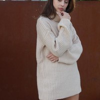 Chestnut Turtleneck Sweater Dress