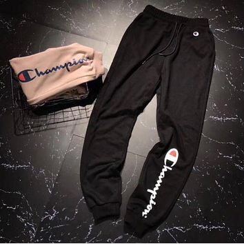 Champion Fashion Men Fashion Print Sport Stretch Pants Trousers Sweatpants Black I