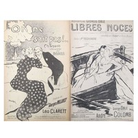Pre-owned Romantic French Song Sheets C. 1900 - A Pair