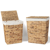 Multi-Purpose Seagrass Woven Laundry Basket with Lid