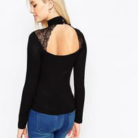 ASOS Polo Neck Jumper With Lace Insert