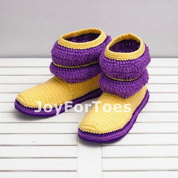 Crochet Boots Lilac Purple Yellow Stripes for the Home Slippers Women Boots
