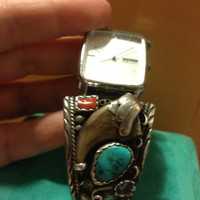Working NAVAJO WATCH Bear Claw TURQUOISE Red Coral Sterling Silver 925 66 Grams Vintage Lorus Genuine Southwestern Signed Stamped Vintage