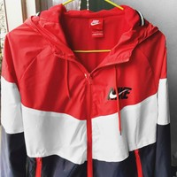 Nike New Fashionable Personality Hoodie Zipper Cardigan Sportswear Sweatshirt Jacket Coat Windbreaker Red