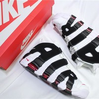 Air More Uptempo White/Black Basketball Sneaker