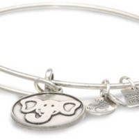 "Alex and Ani ""Charity by Design"" The Elephant Rafaelian Silver Finish Expandable Wire Bangle Bracelet"