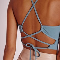 Missguided - Tie Up Back Crop Top Blue