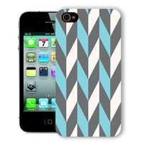 ChiChiC Iphone Case, i phone 4 4g 4s case,Iphone4 iphone4g iphone4s covers, plastic cases back cover skin protector,geometric turquoise Brown chevron