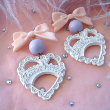 White, Lilac and Pink Sweetheart Earrings