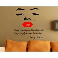 Marilyn Monroe Wall Decal Decor Quote Face Red Lips Large Nice Sticker Beneath the Makeup and Behind the Smile I Am Just a Girl Who Wishes for the World