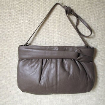 Clutch Bag taupe brown leather shoulder bag long strap purse soft unstructured high fashion hipster ruched leather vintage 80s