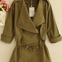 Army Green Trench Lapel Coat