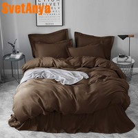 Svetanya sanded Cotton Bedding Linen Coffee Solid Color Queen King Full Double Size ( Sheet Pillowcase Quilt Cover Sets)