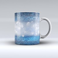 The Royal Blue and Silver Glowing Orbs of Light ink-Fuzed Ceramic Coffee Mug