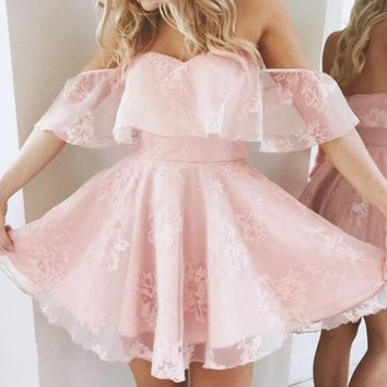 Off Shoulder Falbala Short Sleeves Pleated Short Dress
