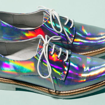 Holographic! Miista Zoe Leather Hologram Shoes in Iridescent Purple | Thrifted & Modern