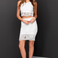 Double Time Ivory Lace Two-Piece Dress