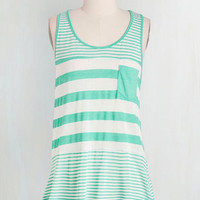 Mid-length Tank top (2 thick straps) Here to Staycation Top in Mint