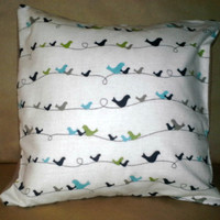 Pretty Little Birds on a Wire Pillow Sham Backed in Brown Flannel, Decorative