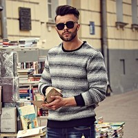 BIG GUY XL-6XL Plus Size Winter Pullover Men 2016 Casual Male Sweater Pull Homme Striped Warm Thick Fleece Men's Sweaters 1364