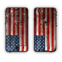 The Wooden Grungy American Flag Apple iPhone 6 Plus LifeProof Nuud Case Skin Set