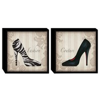 Glamour Shoes in B&W Wood Wall Art (Set of 2) (2062) - Illuminada
