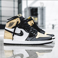 Air jordan 1 AJ 1 Men's shoes high-top sneakers female students breathable basketball shoes sneakers Gold&White&Black