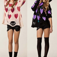 'The Evelyn' Black & Pink Heart Patterned Long Sleeve Knitwear