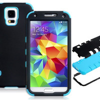 Silicone & Plastic Protective Case for Samsung Galaxy S5 I9600 (Blue)