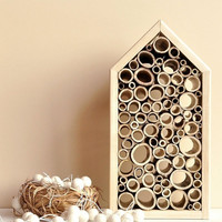 ON SALE Bee house,  Bird house for home and outdoor decor - Wood frame bee hotel