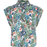 River Island Womens White floral print roll sleeve cropped shirt